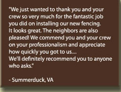 Testimonial of a fence customer